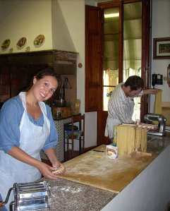 Making homemade pasta at Villa La Montagnola, our cooking school in the Chianti.