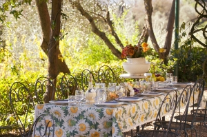 The table is set for lunch at Villa del Cielo, near Siena.