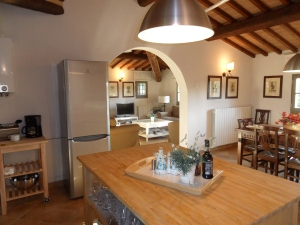 The kitchen at La Solaia is well-equipped for cooking and entertaining during your villa rental experience!