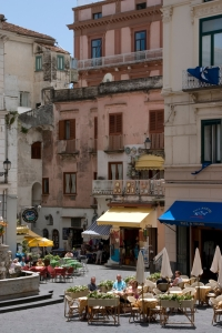 Enjoying la dolce vita on the piazza in Amalfi.